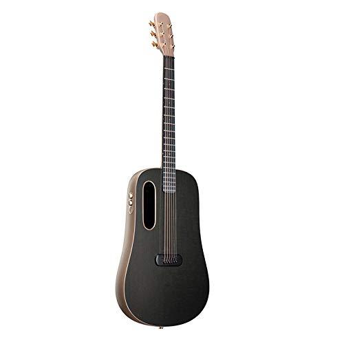 KEPOHK Guitarra eléctrica acústica de fibra de carbono FreeBoost 41 pulgadas Guitarra profesional para tocar con estuche Cable de carga de selección 41 pulgadas Oro