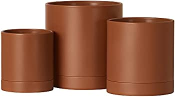 Set of 3 Songmics Plant Pots with Drainage Holes and Saucers