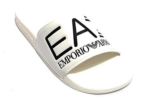 Emporio Armani Ciabatte Sandalo in Gomma XCP001XCC22A222 Bianco (44 EU)