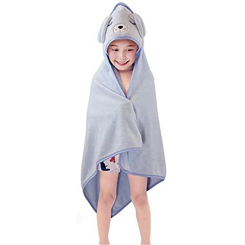 Animal Face Hooded Towel Blanket - Coral Fleece Bath Pool Towels Bathrobe - Soft Warm Plush Wrap for Boys Girls - Best 31.5 X 31.5 Inches (Sky-Blue Dog)