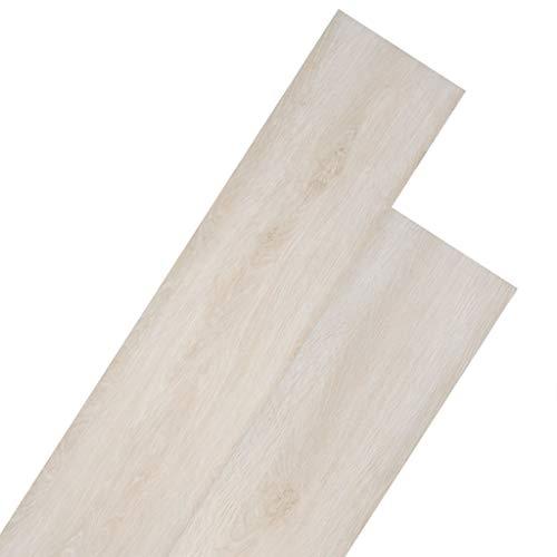 UnfadeMemory PVC Laminat Dielen Bodendielen PVC-Bodenbelag Fußbodenbelag Wohnzimmer Küchen Flur Rutschfest Laminatboden Gesamtfläche 4,46 m² Dicke von 3 mm (Eiche Klassisch Weiß)