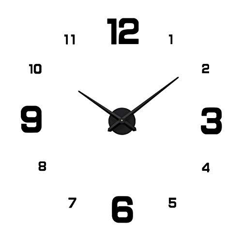 ufengke Reloj de Pared DIY Negro Grande Reloj Quartz Alumini