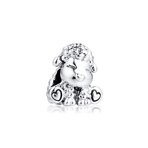 LISHOU Se Adapta A La Pulsera Pandora Argent Charm 925 Sterling Silver Animal Patti The Sheep Charms Beads para DIY Joyería De Las Mujeres