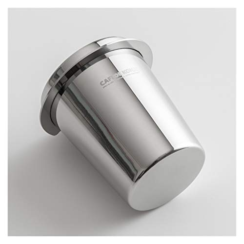CCHAO CafeDeGona Edelstahl Dosierungsbecher Kaffee Schnüffeln Becher Puderzufuhr Fit 57mm Espressomaschine Portafilter Mühle Assistent (Color : Silver)
