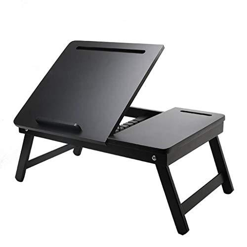 clacce Laptoptisch fürs Bett 50 * 35 cm, verstellbar klappbar Betttablett, Leseklappe und Ablage, schwarz