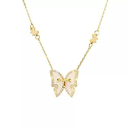 YQMJLF Collar Moda Accesorios Collares Mujer Delicado Collar de Mariposa de Concha de Plata Mujer Collares de Cadena de clavícula con dijes de Color Dorado Joyas Mujer Navidad año Nuevo Regalos