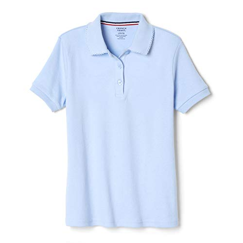 French Toast Big Girls' Short Sleeve Interlock Polo with Picot Collar, Light Blue, Large/10/12