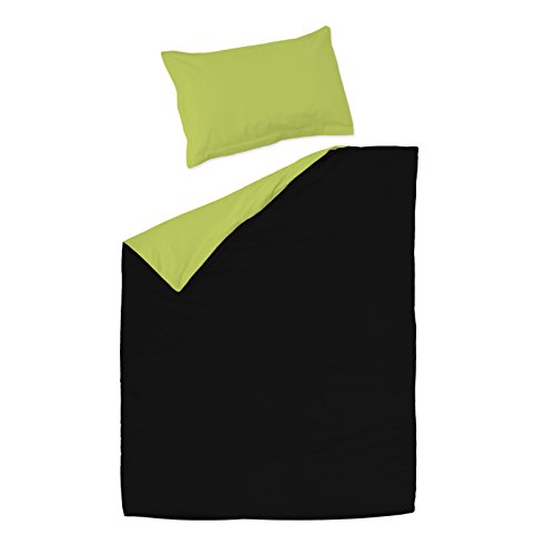 SoulBedroom Nero e Verde 100% Cotone Biancheria da Letto Reversibile Singolo (Copripiumino 155x200...