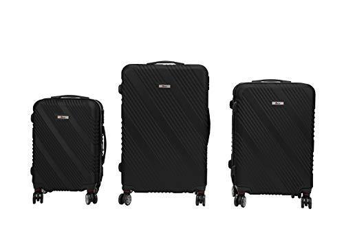 Luxus 3 TEILIGES Kofferset IMEX Koffer Trolley HARTSCHALE ABS REISEKOFFER Set (Schwarz)