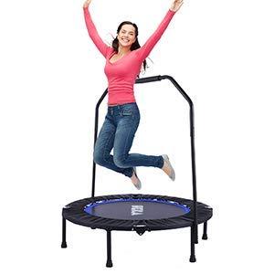 HEKA Trampolin Fitness-Trampolin,Fitness Trampolin Klappbar Ø ca 102 cm,Trampolin Kinder mit Schaumstoff Griff, für Erwachsene und Kinder, für Indoor und Outdoor, Maximale Tragfähigkeit 150 kg (Blau)