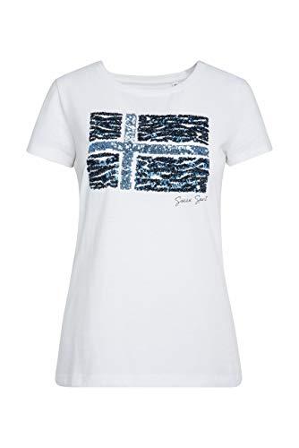 Soccx Damen T-Shirt mit Flag Artwork aus Pailletten, Opticwhite, S