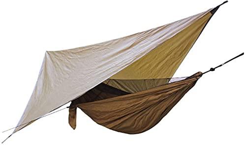Hamaca de Camping Hamaca de Campamento Hamaca de paracaídas de Nylon con Lona a Prueba de Lluvias y Refugio de Viento del cinturón de árbol