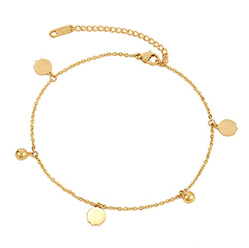 Vvff Stainless Steel Bell Anklet Female Beach Sandals Ankle Bracelet Leg Chain Elegant Gold Woman Yoga Initial Chain Gift
