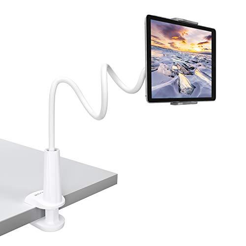 Tryone Supporto Tablet, Collo Oca Supporto Regolabile - Supporto per Tablet iPad iPhone Nintendo Switch Samsung Tab Huawei Mediapad Kindle e Altri, Lunghezza Complessiva 30 Pollici (Bianco)