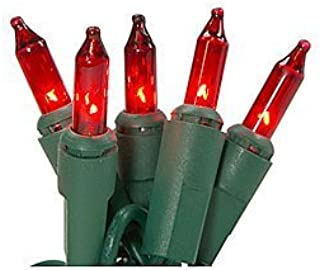 General Electric GE 150 RED Miniature String-A-Long Lights with Green Wire