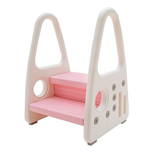 KATARUS Toddler Step Stool for Kids Two Step Standing Tower for Kitchen Counter, Bathroom Sink & Toilet Potty Training, Children Step Ladder Learning Helper with Handles and Safety Non-Slip Pads, Pink