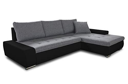 Ecksofa mit Schlaffunktion Faris - Couch mit Bettkasten, Big Sofa, Sofagarnitur, Couchgarniitur, Polsterecke, Bett (Schwarz + Grau (Madryt 1100 + Inari 91), Ecksofa Rechts)