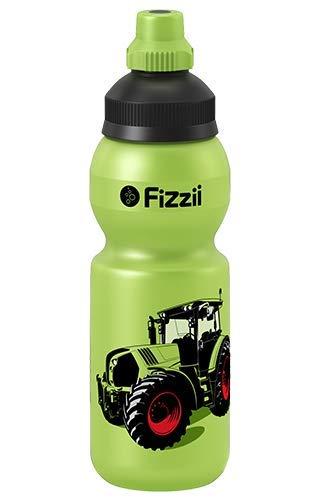 Fizzii Kinder- und Freizeittrinkflasche 330 ml (auslaufsicher bei Kohlensäure, schadstofffrei, spülmaschinenfest, Motiv: Mini Trecker)