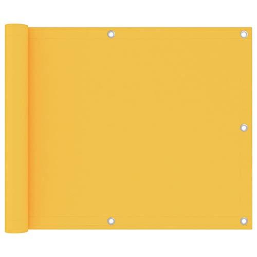 Tidyard Toldo para Balcón Parasol Pantalla Privacidad Malla Ocultación Patio Jardín Terraza Protección Impermeable Tela Oxford Impermeable Amarillo 75x300 cm