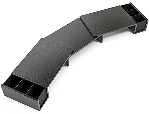 LORYERGO Doppel-Monitorständer, Aufgerüsteter Bildschirmständer Holz mit 2 Steckplätzen, Verstellbare Länge & Schwenkwinkel, Bildschirmerhöhung für PC-Monitor, Notebook, Schreibtischaufsatz, Laptop