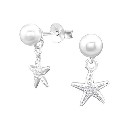 Tata Gisele  Drop Earrings in Rhodium-Plated Silver 925/1000 White Pearl with Hammered Silver Starfish 15 mm
