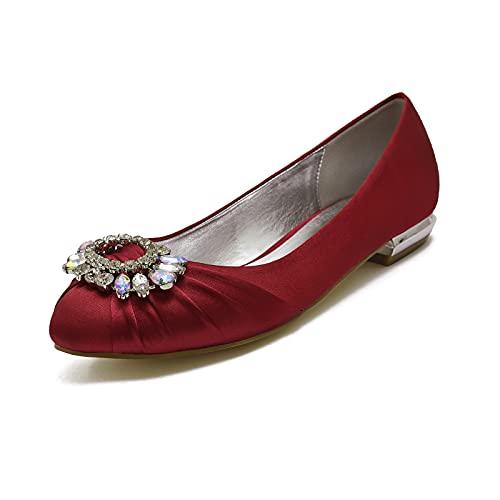 Zapatos Bailarina Plana para Mujer Cerrado Punta Diamante de satén Moda Fiesta Zapatos de Boda de Novia de Salon,Dark Red,40 EU