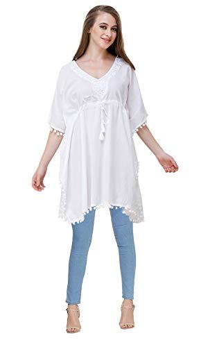 MEVE 100% Cotton White Women's Short Kaftan/Kurti/Top (KFT13)