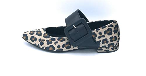 sneakers donna ovye OVYE LF 2223 Ballerina Raso Giraffa Fibbia Pelle Nera - Taglia Scarpa 37 Colore Antilope