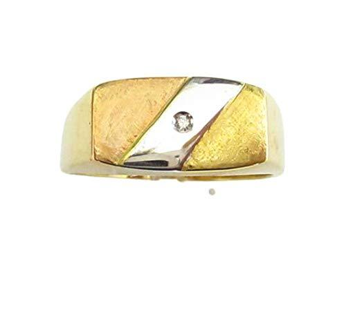 Gioielleria Damiata - Anello Uomo in Oro Bianco, Giallo e Rosa 18 carati con Diamante