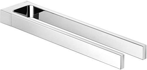 KEUCO Handtuchhalter aus Metall, hochglanz-verchromt, zweiarmig, starr, 34cm tief, für Badezimmer und Gäste-Toilette, Wandmontage, Edition 11