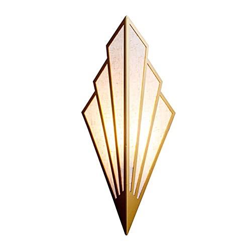 Waqihreu Lámpara de Pared LED Lámpara de Pared de cabecera para Dormitorio Moderno Iluminación de Pared de Sector Creativo para el Pasillo, Sala de Estar, Restaurante, Bar, Tienda de Ropa, latón, E14