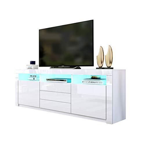 UNDRANDED 160cm TV Board Sideboard 2 Türen 3 Schubladen Fernsehschrank Hochglanz mit LED Beleuchtung (Weiß)