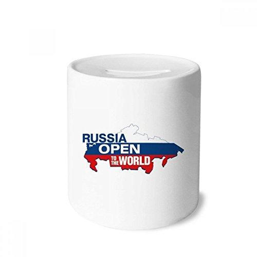 DIYthinker Russia Open to The World Flag Map - Hucha de cerámica, diseño de cerdito