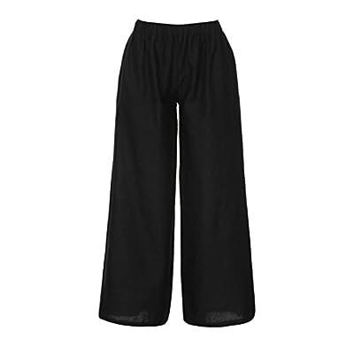 Mikkar Women Baggy Loose Trouser Linen Pants Elastic Waist Plain Harem Wide Pants Black from Mikkar