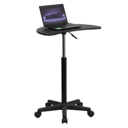 Flash Furniture Black Sit to Stand Mobile Laptop Computer Desk - NAN-JN-2792-GG