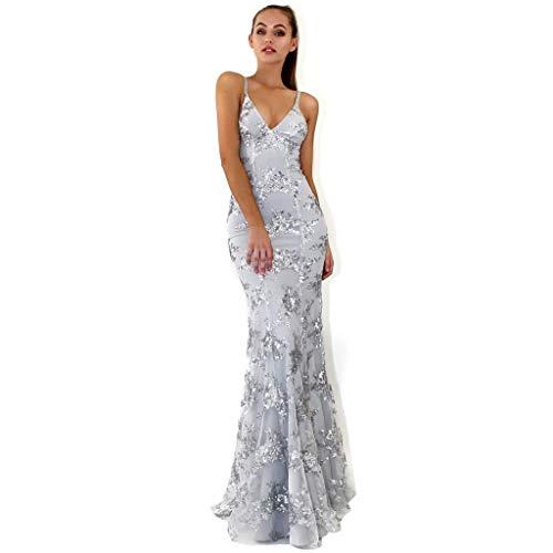 Lange cocktailjurk met pailletten, mouwloze V-hals, elegante en mooie jurk voor dames.