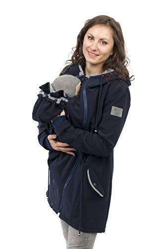 Viva la Mama - Umstandsjacke Damen, Tragemantel Vorn und Hinten Jacke mit Einsatz Kängurujacke Softshell - PINA Marine blau - M