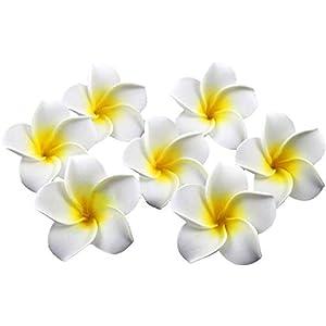 Healthcom 100 Pcs 2.4 Inch White Artificial Plumeria Rubra Hawaiian Flower Petals Hair Hat Wreath Floral Premium Hawaiian Foam Frangipani Flowers for DIY Home Beach Wedding Party Decoration