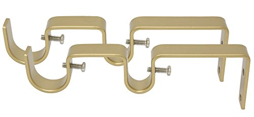 """MERIVILLE Double Curtain Rod Bracket - Designed for 1"""" Frond Rod and 5/8"""" Back Rod Double Drapery Rod, Royal Gold, Set of 2"""