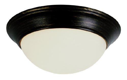"Trans Globe Lighting PL-57701 ROB Indoor Athena 14"" Flushmount, Rubbed Oil Bronze"