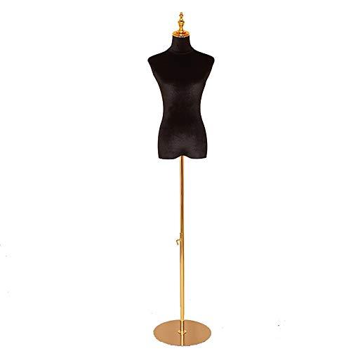 Maniqui Costura Modista Busto Vestido de Mujer Negro Forma Maniquí Torso Cuerpo con Soporte y Cabeza Ajustables Dorados, para Vestido de Novia/Exhibición de Joyas (Size : S)