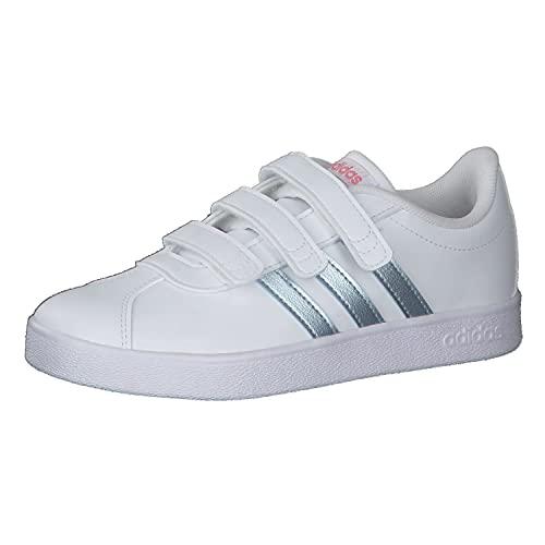 adidas VL Court 2.0 Cmf C, Scarpe da Ginnastica Unisex-Bambini, Ftwr White/Vision Met./Super Pop, 28 EU