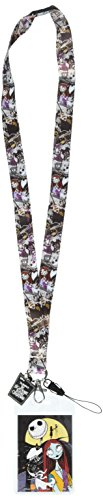Disney Tim Burton's The Nightmare Before Christmas Jack & Sally Lanyard with Soft Dangle & Card Holder,Multi-colored,3'