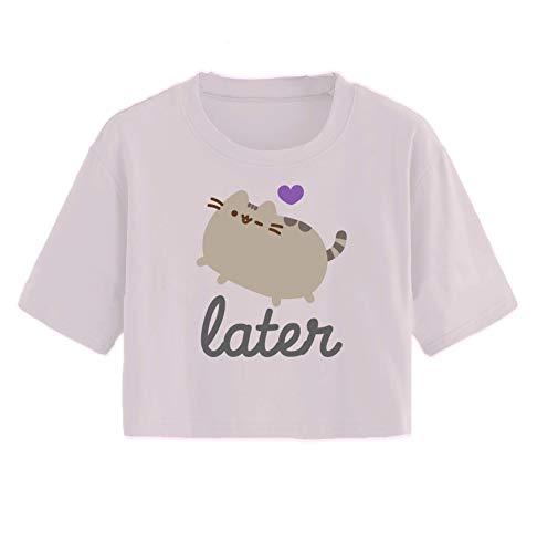 Pusheen Ladies The Cat Shirt The Cat Vintage Juniors Cropped Top T-Shirt (Light Pink, X-Large)