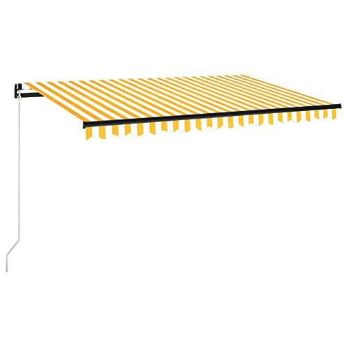 Tidyard Toldo Manual Retráctil con Tira LED Brazo Plegable Impermeable Protección Solar Porche Jardín Sombra Exterior Terraza Patio Amarillo y Blanco 450x300 cm