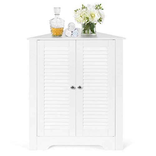 Tangkula Corner Storage Cabinet, Space Saving Corner Cabinet with Double Shutter...