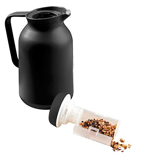 Rosenstein & Söhne Teekanne mit Sieb Thermo: 2in1-Vakuum-Isolierkanne für Kaffee und Tee, mit Teesieb, 1 Liter (Isolier Teekanne mit Sieb)