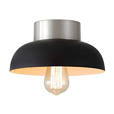 Modern Black Semi Flush Mount Ceiling Light,Industrial Brushed Nickel Metal 1-Light Close to Ceiling Light Fixture for Kitchen Island,Hallway,Entryway,Porch, Cafe, Bar, Corridor,Passway