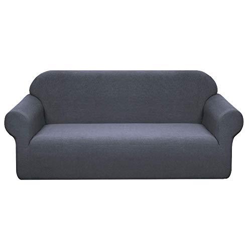BHAHFL Funda de sofá elástica Impermeable Funda de sofá de Tela elástica de 1 Pieza - Funda de sofá Ajustada con patrón Flocado Funda de sofá Antideslizante con combinación,Dark Gray,3Seater