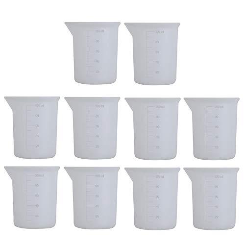 Gurxi Vaso de Silicona de 100 ml Vaso Medidor Reutilizable Vaso Medidor de Silicona Antiadherentes para el Experimento de Bricolaje Hornear en Casa Escuela Hecho a Mano 100 ml 10 Piezas (Transparente)